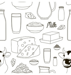 Milk set pattern vector image