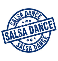 salsa dance blue round grunge stamp vector image vector image