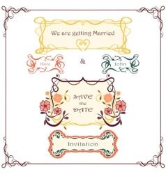 Wedding graphic set Vintage border pack vector image