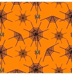 Halloween party spider net orange pattern vector image