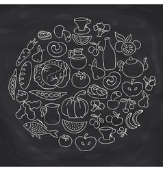 Hand drawn food ring label sketch chalk board vector