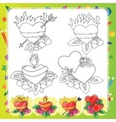 Heart Tattoo Design - flash set vector image