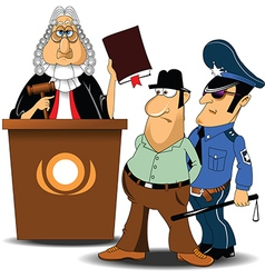 Judge and policeman with criminal vector image vector image