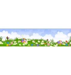 seamless flower fields vector image vector image