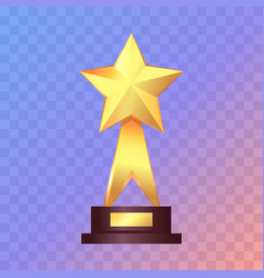 best gold star trophy standing on white shelf vector image vector image