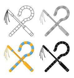 Crook and flail icon in cartoon style isolated on vector
