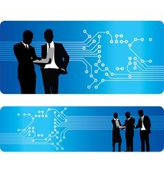 people circuit board banner vector image