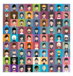 Set of people icons in flat style with faces 11 b vector image