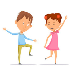 girl and boy children and kid dancing vector image vector image