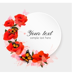 Holiday background with red flowers vector image vector image