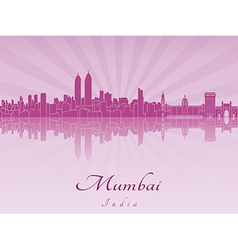 Mumbai skyline in purple radiant orchid vector image vector image