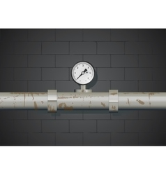 Rusty pipe with manometer on wall background vector image vector image