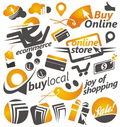 Set of shopping icons signs and symbols vector image vector image