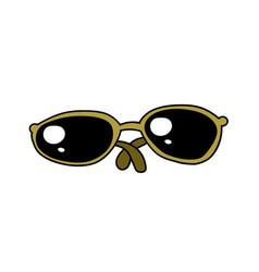 Sunglasses cartoon hand drawn image vector