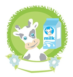Sweet cow with milk vector