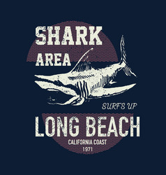 t shirt print design shark vintage vector image