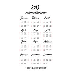 2019 calendar with the months and year written vector image