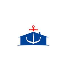 anchor mortgage house logo template vector image