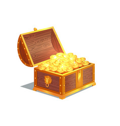 ancient gold coins in heavy open wooden chest vector image