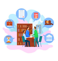 Attorney office consultation people handshaking vector