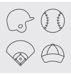 Ball helmet league and cap of baseball sport vector