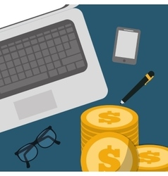 Banking concept laptop pen glasses pile coins vector