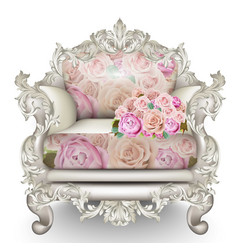 baroque luxury armchair rich furniture carved vector image