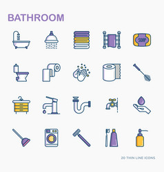 bathroom equipment thin line icons vector image