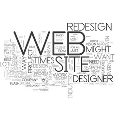 before you redesign your web site text word cloud vector image