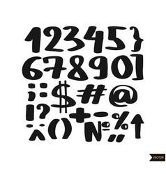 black handwritten numbers vector image