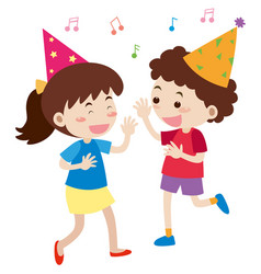 boy and girl singing at party vector image