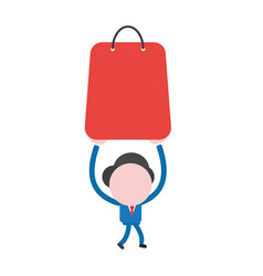 Businessman character walking and holding up vector
