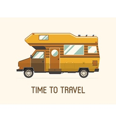 Camping Trailer Family Traveler Truck Flat Style vector