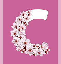 Capital letter c patterned with cherry blossom vector