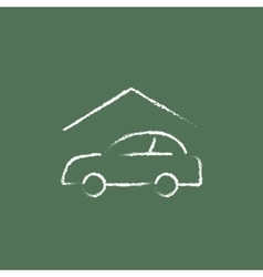 Car garage icon drawn in chalk vector image