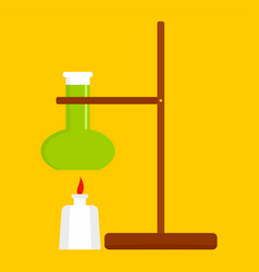 Chemistry flask stand icon flat style vector