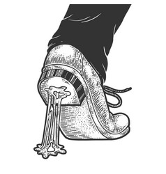 chewing bubble gum stuck to shoe sketch vector image
