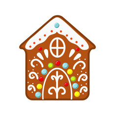 Christmas gingerbread house cookie new year icon vector