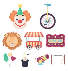 Circus set icons in cartoon style big collection vector