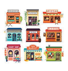 collection of shop buildings isolated on white vector image