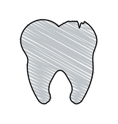 Color crayon stripe cartoon tooth with cracks vector