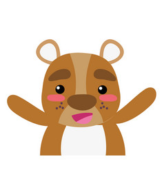 Colorful adorable and cheerful bear wild animal vector