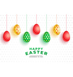 colorful pattern 3d eggs for easter day vector image