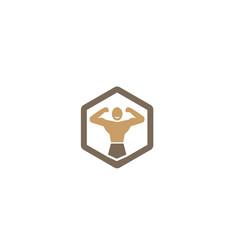 creative strong body gym hexagon logo vector image