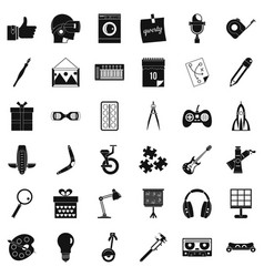 Creative working icons set simple style vector