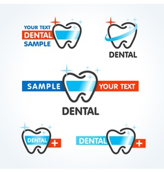 Dental tooth symbol sign icons set vector