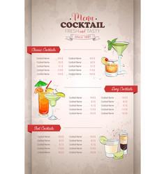 Drawing vertical color cocktail menu design vector