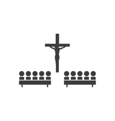 Flat icon in black and white style church people vector