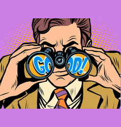 Good businessman looking through binoculars vector