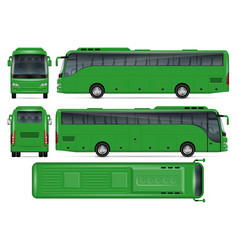 Green bus mockup vector